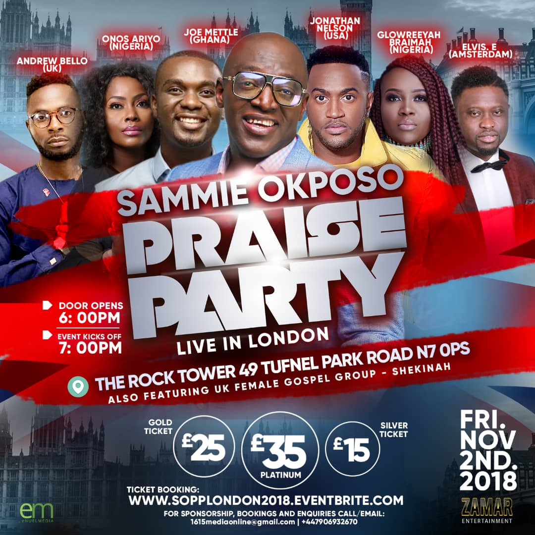 The Godfather of Afro-Gospel Sammie Okposo Is Set To Host his First Live Recording in London